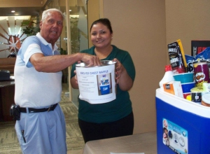 Customer Jack Blanchard drew the winning ticket for the Relay for Life Drawing.