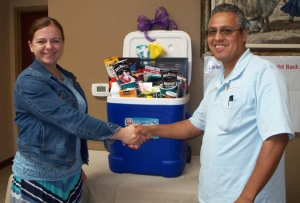 Customer Leroy Ortega won the Relay for Life Drawing.