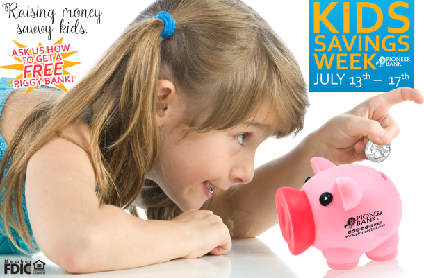 Pioneer Bank FREE Piggy Bank with Kids Savings