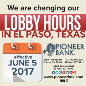 New lobby hours in El Paso