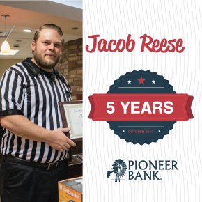 Congratulations Jacob Reese for five years.