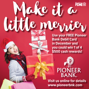 You can win $500 just for using your Pioneer Bank Visa®Card!