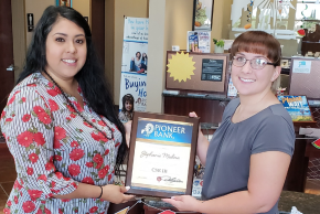 Pioneer Bank employees strive to excel at customer service